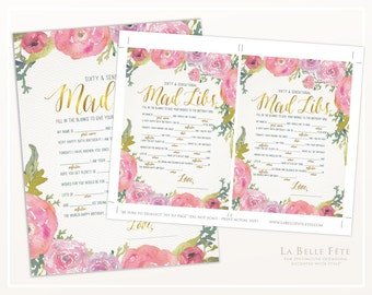 SIXTY & SENSATIONAL PARTY Mad Libs Game / Watercolor Floral design in pink and gold