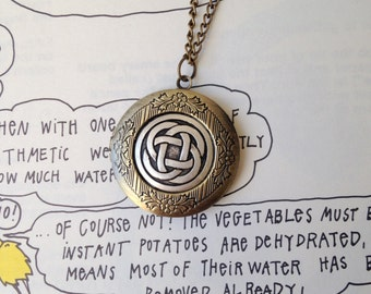 Celtic Knot Locket Necklace. Long Necklace.