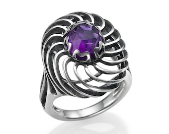 Sterling Silver Ring Amethyst Infinity