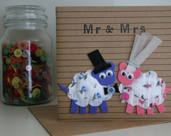 Sale Card ~ Sheep Wedding Card ~ Bride and Groom ~ Mr and Mrs ~ Handmade Card ~ Love ~ Animal Greeting Card