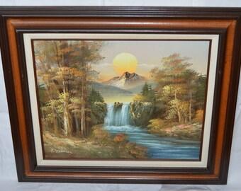 Original Vintage Sunrise Landscape Oil Painting on Canvas signed R. Thomas
