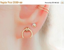 Sale - SALE - Horseshoe Earrings-Edgy Wrapped Earrings-Horseshoe Stud Earrings-Gold Edgy Earrings-Mix and Match Jewelry-Ear Piercing-Nickle