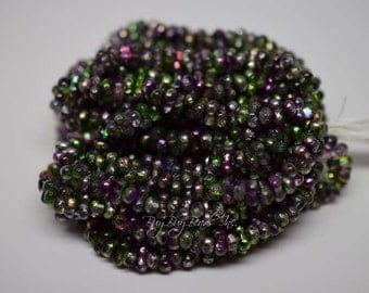 3MMx6MM, Magic Orchid Etched, Peanut-Shaped Beads, Farfalles Czech Glass Beads - 4 Strands (Approx 200 Beads)