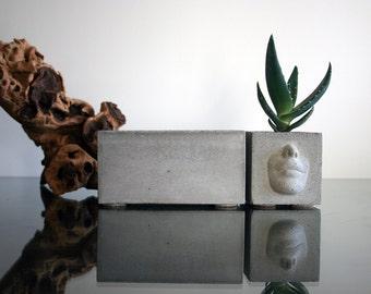 Set of 2: Two concrete planters, Concrete pot, Urban Home Decor Modern Planter, Concrete pot, Cactus planter