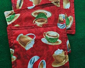 Drink Coasters set of 4 Coffee Cups print 100% Cotton fabric Handmade