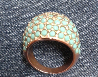 Vintage Copper and Turquoise Domed Ring