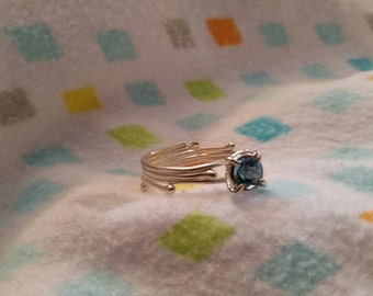 Blue topaz stirling silver ring