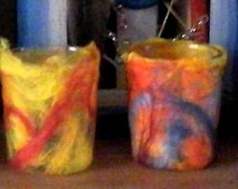 tea lights with wool