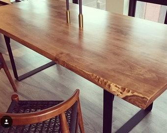 Custom Built Solid Soft Maple Rustic Dining Table with bench