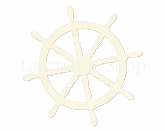 "2"" - 34"" Nautilus Boat Helm Wooden Cutout Shape, Silhouette, Gift Tags Ornaments, Room Decoration, Laser Cut Birch Wood,  #1636"
