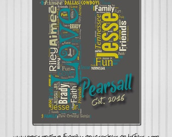 Personalized Family Letter / Initial Word Art Print (Canvas or Metal)