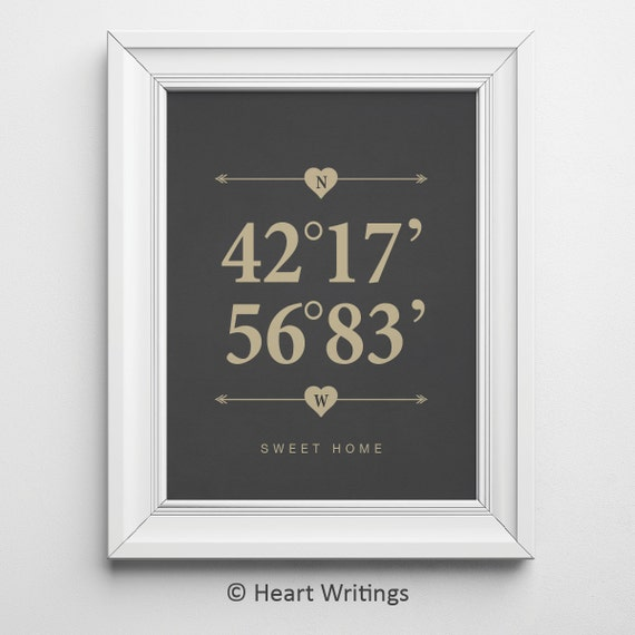 Housewarming Gift Wedding Gift Custom Coordinates Print Latitude and ...