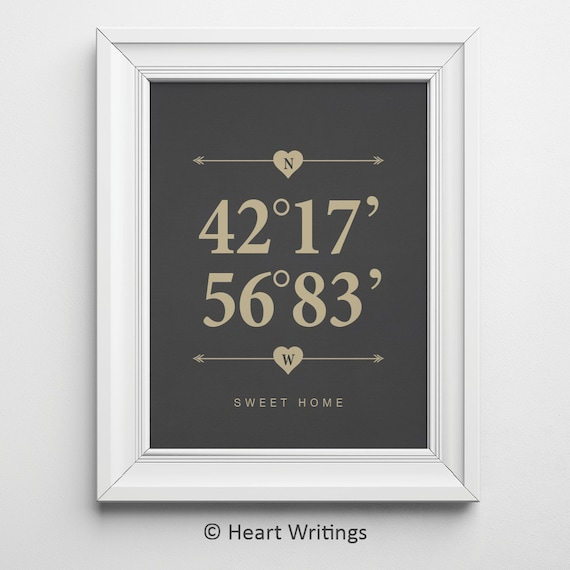 Personalised Wedding Gift Coordinates : Housewarming Gift Wedding Gift Custom Coordinates Print Latitude and ...