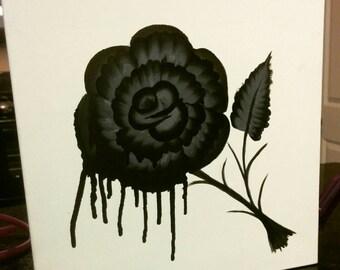 Black rose painting