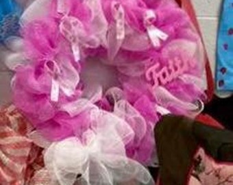 Large Breast Cancer Wreath