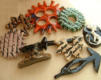 9 handmade steampunk gearing and more in enamelled ceramic