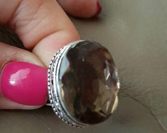 Smokey Topaz Ring- size 7.75!