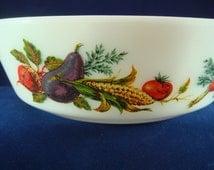 Pyrex Market Garden Dish Vintage 2 Pint Glass Casserole JAJ Tuscany White with vegetables design 1970s