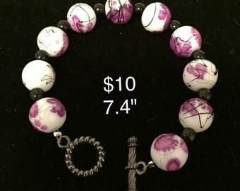 Handmade Floral Glass Beaded Bracelet