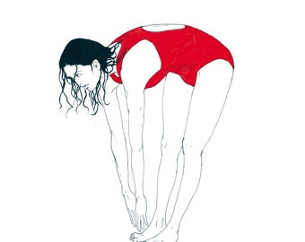 print illustration, swimmer red Jersey, woman, watercolour