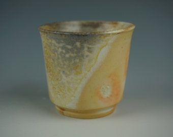 Guinomi - Small Cup - Anagama Wood Fired - Babu Porcelain - Raw Ash Glaze