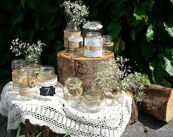 Burlap Lace  Twine Jars