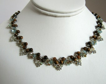 Woven tiger eye beaded necklace