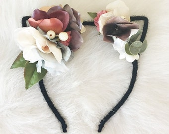 Black Kitty Ear Headband with Multi-Colored Flower Crown