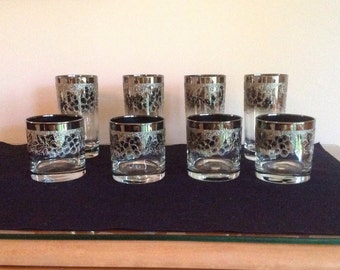 Silver Fade Ombre 4 Rocks and 4 Tumblers