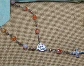 Necklace agate orangeees ten