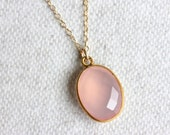 Pink Chalcedony Necklace, Gold Filled Chain, Bezel Pendant, Pink Gem
