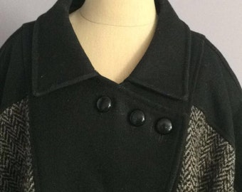 Vintage 1990s Aesthetic Komitor Brand Swing Coat Wool and Tweed Winter Coat - sz XL or XXL