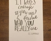Hand- Lettered EE Cummings Quote