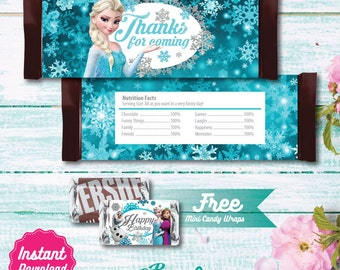 Frozen Candy Bar Wrapper, Printable candy bar wrap label, Disney Frozen Birthday decoration, Elsa, Anna, Olaf, instant download