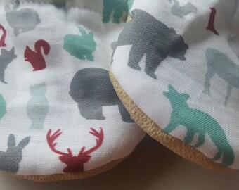 Woodland, spoonflower, deer,bear, fox, Moccasins, baby crib shoes, soft sole