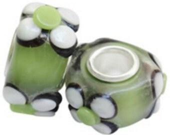 10 Green Flower Lampwork Glass Euro Single Core Beads (B108L)