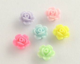 50 Opaque Acrylic Rose Flower Beads 13 x 8mm (B3b/s2c)