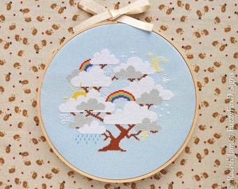Tree Cross Stitch Pattern PDF | Whimsical Cloud Tree with Rainbows | Easy | Modern | Beginners Counted Cross Stitch | Instant Download