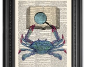 Reading crab print, Dictionary art print, Vintage book art print, Coastal decor, Sea life prints, Home Wall Decor, Gift poster [ART 097]
