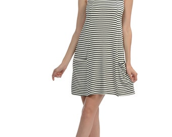 Light Pink Stripe Pocket Sheath Dress