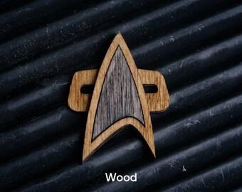 Wooden Star Trek Communicator style Badge - Voyager