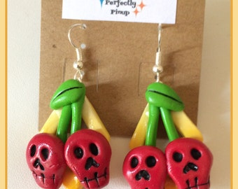 Polymer clay Cherry Skulls Pinup Dangle Earrings