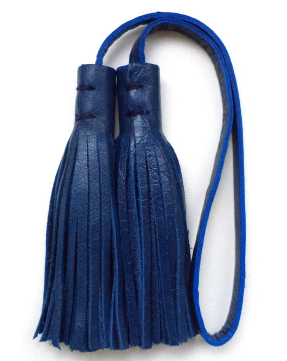 Blue Leather Tassel, Charm, Tote Bag