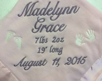 "Micro Fleece Baby Blanket with 2"" Satin Trim Edging with Custom Embroidery"