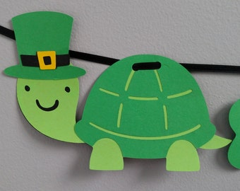 Happy St. Patrick's Day Banner, Turtle, March 17th, Green Saint Patrick's Day Sign, St. Patrick's Party, Green Turtle, PizzazinPaper