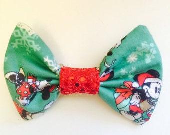 Mint Mickey Christmas Bow