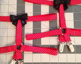 BETTY Garters, Red Polka Dot - pair of red white polka dot elastic thigh garters with metal clips front and back and black sequin bows