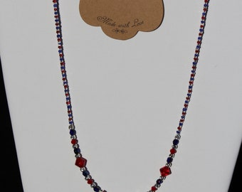 Red,  white and blue glass bead patriotic necklace and earing set