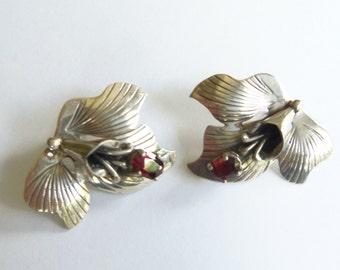 STERLING and GARNET Vintage Pierced Earrings