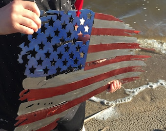 13x24 Weathered United States Battle Flag USA
